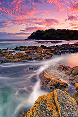 Breathe (Chad Solomon) Tags: ocean pink seascape wet water clouds coast twilight rocks waves pacific chad wave australia pacificocean canon5d canonef1740mmf4lusm solomon iso50 singhray chadsolomon wavemyst wavemist