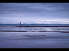 Snow topped hills of Wales, from Crosby beach. Explored Frontpage (Ianmoran1970) Tags: snow beach