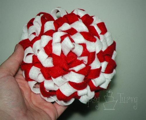 felt ribbon pom pom flower front extra large