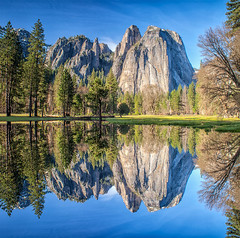 Cathedral Rock Panorama (YES This photograph is Flipped and Blended) (Jim Dollar) Tags: ca reflections panoramas yosemitenationalpark squareimage jimdollar