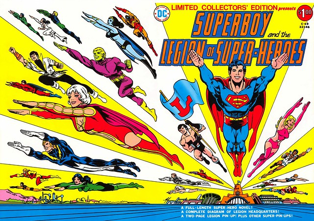 Superboy and Legion of Super-Heroes Collectors Edition cover by Mike Grell, c-49