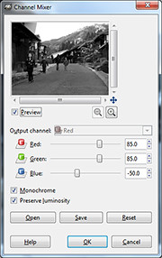 Channel Mixer dialog box in GIMP