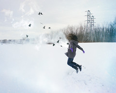 everybody asks me how she's doing - 4/365 (@clp) Tags: trees winter selfportrait snow cold ice girl field birds fog clouds photoshop self landscape flying jump jumping boots smoke sony explosion flight levitation manipulation editing barren explode isolated electrictowers sonynex3