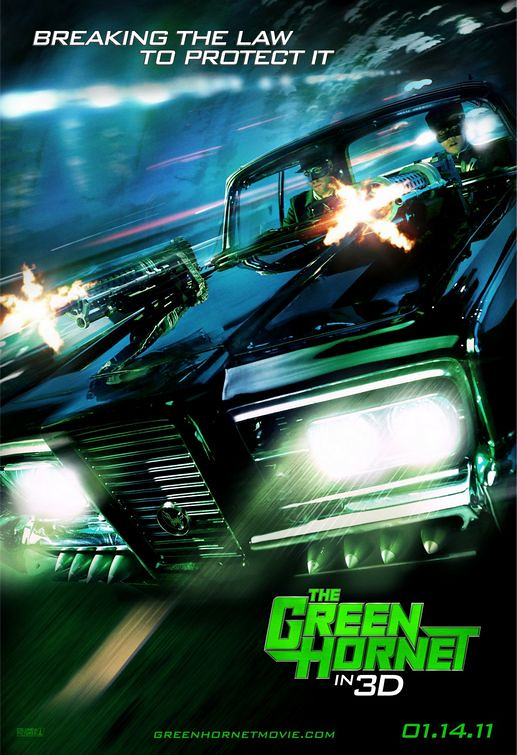 The Green Hornet breaking the law to protect it 2011 movie poster