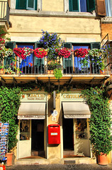 Colorful Rome (` Toshio ') Tags: flowers red italy plants rome roma history mailbox square souvenirs store ancient europe italia european bright balcony rail storefront postcards historical cigars piazzanavona europeanunion romans flowerbox souveniers toshio tabacchi