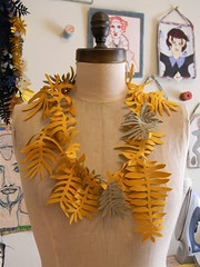 yellow and sage cut out necklace1 (Danny W. Mansmith) Tags: yellow cutout soft unique sage strong freehand sculptural artnecklace wwwscrapdannymansmithetsycom