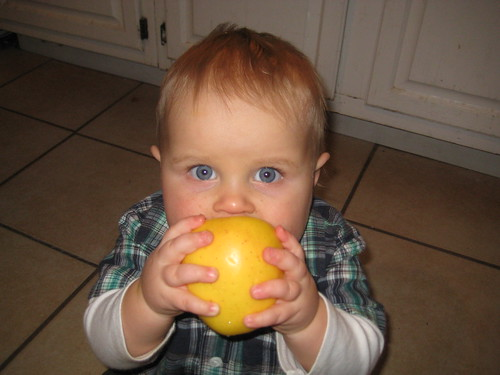 James eating an apple