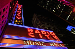 Radio City (davidnc82) Tags: city nyc newyorkcity usa ny newyork night buildings nikon radiocitymusichall radiocity d90
