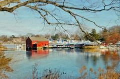 Kirby Pond Moment (floralgal) Tags: winter newyork seascape painterly texture home landscape boats redhouse redbarn longislandsound ryenewyork homeonthewater westchestercountynewyork homeonthesound kirbypondryenewyork