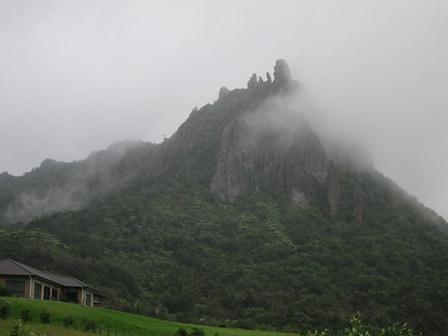 Mount Manaia shrouded in cloud
