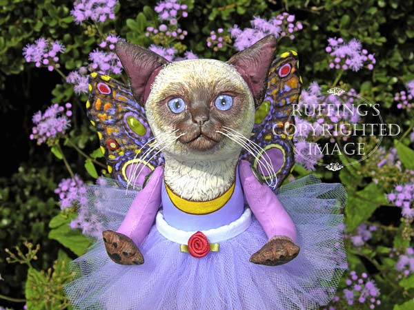 Luna the Pixie Kitten, Original, One-of-a-kind art doll by Max Bailey and Elizabeth Ruffing, version 2, Siamese Cat with Blue-purple Ageratums