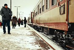 Unexpected departures (ewitsoe) Tags: travel sky cold travelling train fur 50mm nikon europe track stuck freezing poland trains stop purse depart planes scowl warsaw locomotive frown coats heavy getout automobiles choochoo detour stopped middleofnowhere polski noisey sofun d80 apparantlytherearesomeseriousproblemswithtrainsinpolandrightnow thatisnotmeinthephoto