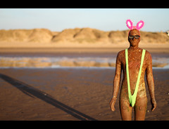 Mankini (Fairy_Nuff (new website - piczology.com!)) Tags: pink bunny green beach sunglasses statue canon eos glasses golden 3d place fluffy ears hour 7d another antony spectacles borat gormley crosby mankini msh0412 msh041210