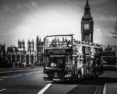 Touring London. (Albatross Imagery) Tags: flickr instagram londonlife people streetphotography sigma nikon cityscape blackandwhitephotography blackandwhite uk england city photographer tourists photography lovelondon bigben parliament westminsterbridge westminster opentopbus bus bigbustours london