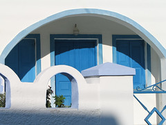 Greece architecture (Mats Mattsson) Tags: door travel blue white house holiday architecture colorful europe arc sunny santorini greece leisure
