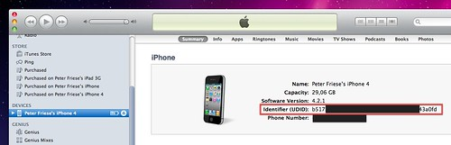Finding your iPhone's UDID, step 2