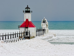 """Red White & Blue"" St. Joseph Northpier Lighthouse, St. Joseph, Michigan (Michigan Nut) Tags: blue winter usa snow ice nature geotagged lakemichigan redwhiteblue stjosephlighthouse nikonnikkor70300mmf4556gedifafsvrtelephotozoomlens"