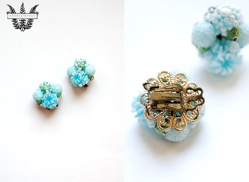 vintage sky blue 1960s cluster earrings