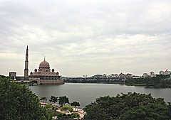 Putra Mosque (achem74) Tags: city trip travel lake places mosque malaysia putrajaya putrajayamosque lakeputrajaya