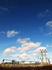 #ds445 (duckinwales (now in Ipernity)) Tags: blue sky up weather clouds electricity rhyl 150th ds445 substationsky