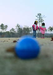 I Have No Idea Where the Ball Is.  When Did You Last See It? (Narfas) Tags: pink blue girls white playing color green yellow sisters ball children toy lost photo nikon funny child humor young conversation nikkor50mmf18 talking explored d80 capturenx2