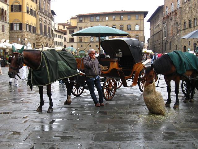 フィレンツェの馬車のフリー写真素材