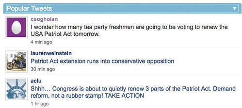 I wonder how many tea party freshmen are going to be voting to renew the USA Patriot Act tomorrow.