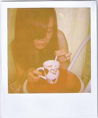 160/365 tagged. (Mii Yatogi) Tags: portrait cup girl self polaroid milk chair heart tea curtain