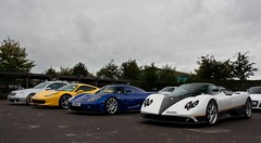 Four in a Row. (Alex Penfold) Tags: camera blue white black cars alex sports up car yellow canon silver photography mercedes benz photo cool italia shot image awesome picture fast super ps ferrari line peter exotic photograph dtm supercar goodwood numberplate exotica zonda supercars combo clk merc