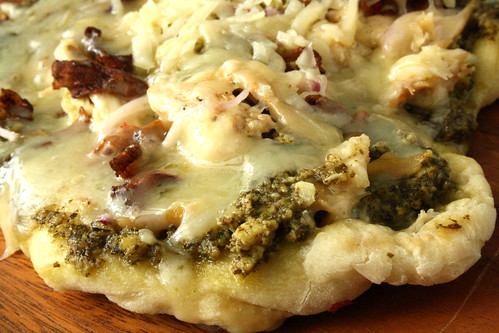 Chicken, Pesto and Chanterelle Mushroom Pizza
