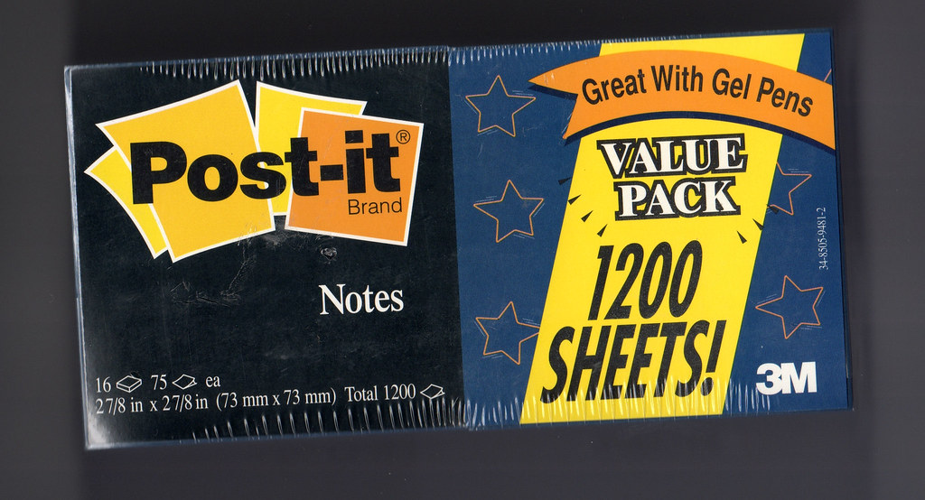 Post-it, 3M, Midnight, black, purple, eggplant, navy, navy blue, sticky, sticky notes, post-it notes, discontinue, gel pen, value pack, 1200 sheets, 16 pads, 3x3, collectors item, rare, goth, gothic,