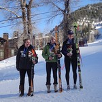 Top 3 Juniors at Aspen Nor-Am DH - 1st = Julia Roth (centre); 2nd = Sarah Freeman (left); 3rd = Madison McLeish (right)