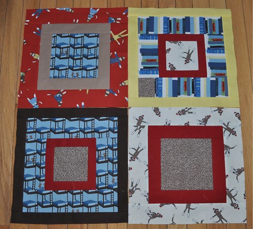 4 monkey quilt blocks