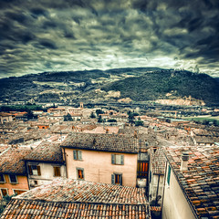 Clouds over Fossombrone (.fulvio) Tags: windows roof sky italy clouds canon buildings bricks hill hdr fulvio montefeltro fossombrone ef1635f28liiusm 5dmarkii gismaster wwwdofphotocom gettyimagesitalyq1