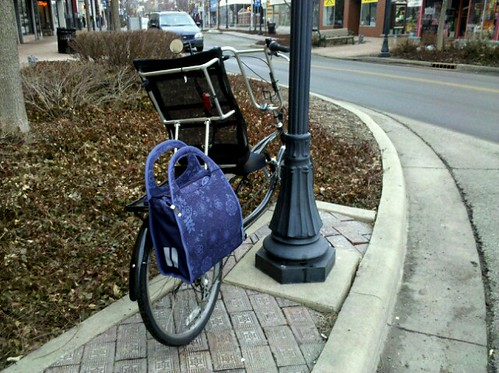 First bike ride of 2011 with my new super cute pannier!