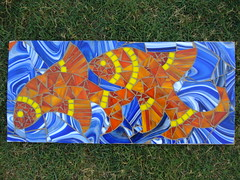 fishes on wood (Aruna Upadhya (KaanchStainedglass)) Tags: orange fish art glass beautiful colours bright mosaic stainedglass colourful fishes glassmosaic kaanchstainedglass