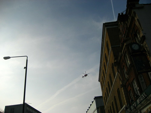 Air ambulance taking off from the Royal London Hospital