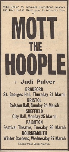 03/21/74 - 03/27/74 Mott The Hoople/Judi Puler UK Tour Ad