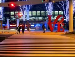 44/365: LOVE (joyjwaller) Tags: street red love japan tokyo shinjuku streetlights zebra pedestrians publicart obscure pedestriancrossing project365 shinjukuadventures