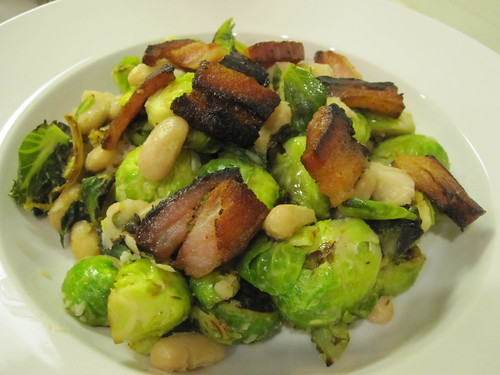 Bacon, beans, and brussels sprouts