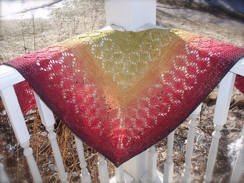 Maple Madrona Shawl in the corner