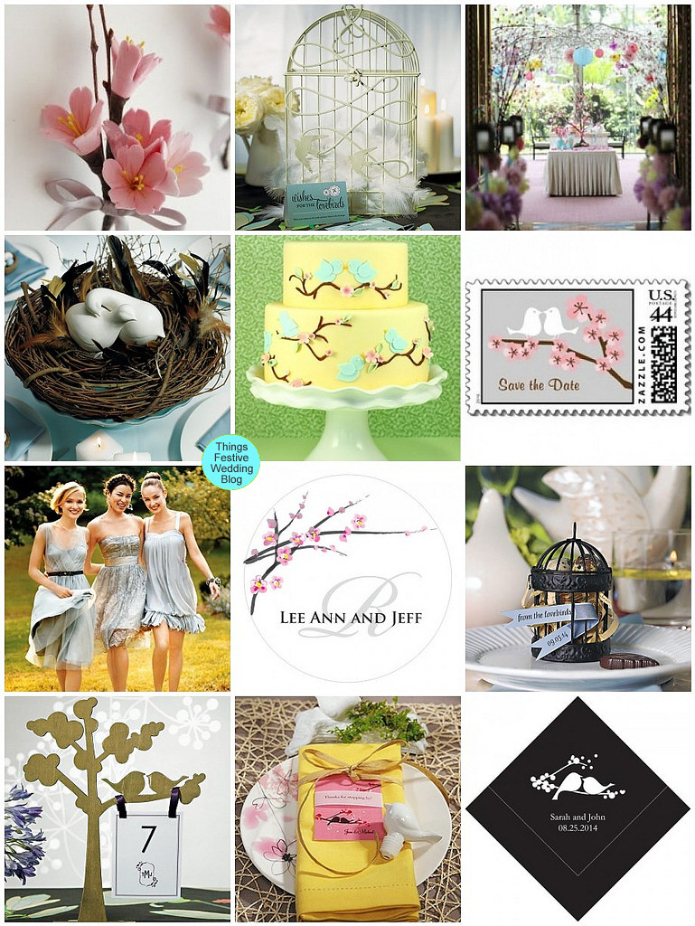 Love Birds Wedding Theme With Cherry Blossoms Things Festive