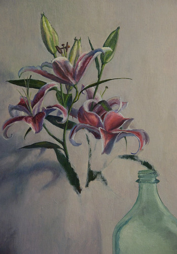 WIP Lilies Painting 18x14 20110225