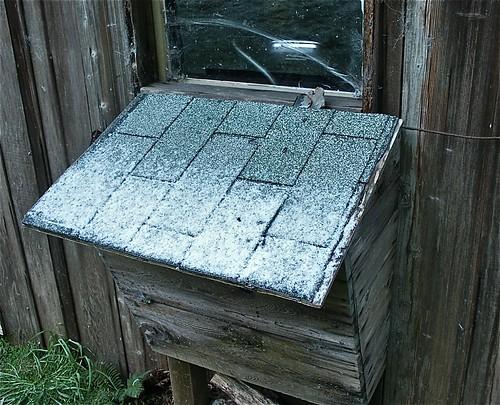 Snow on the wood box