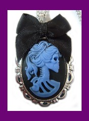 Blue Skeleton Lady Cameo Necklace (ssjewellery) Tags: blue black lady dayofthedead skeleton skull gold necklace handmade jewellery mexican bow cameo ssjewellery ssjewellerynetainet