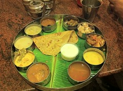 South Indian Meals as Brindhavan, Kochi (Jennifer Kumar) Tags: food india lunch meals tasty variety february cochin kochi thali 2010 southindia bananaleaf sappard