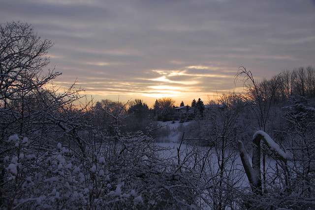 sunrise in snow
