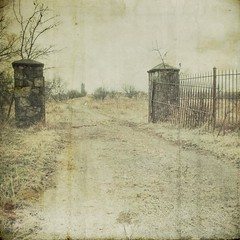 keith gate (jssteak) Tags: road abandoned canon square gate texas cloudy driveway murder jolly textured texturesquared t1i
