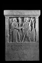 stele (Csbr) Tags: bw sculpture history museum greek ancient europe december athens scan relief greece stele classical marble acropolis copy votive inscription 2010 pentelic statuaclassica