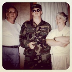Me at twenty-eight with my mom & dad. It may be hard to see me cause I'm wearing camouflage. by ObieVIP